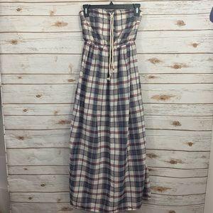 GAP Strapless Blue Plaid Summer Beach Maxi Dress